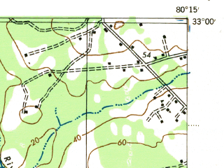 Reduced fragment of topographic map en--usgs--063k--052980--(1943)--N033-00_W080-30--N032-45_W080-15; towns and cities Cottageville