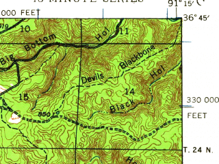 Reduced fragment of topographic map en--usgs--063k--052990--(1944)--N036-45_W091-30--N036-30_W091-15; towns and cities Alton