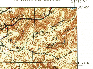 Reduced fragment of topographic map en--usgs--063k--052990--(1946)--N036-45_W091-30--N036-30_W091-15; towns and cities Alton