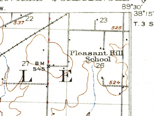 Reduced fragment of topographic map en--usgs--063k--052995--(1917)--N038-15_W089-45--N038-00_W089-30; towns and cities Steeleville, Tilden, Coulterville