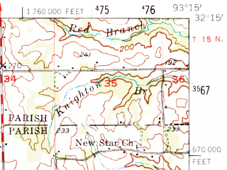 Reduced fragment of topographic map en--usgs--063k--053000--(1957)--N032-15_W093-30--N032-00_W093-15 in area of Flat; towns and cities Edgefield, Hall Summit, Coushatta