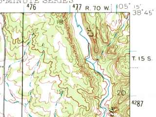 Reduced fragment of topographic map en--usgs--063k--053004--(1942)--N038-45_W105-30--N038-30_W105-15