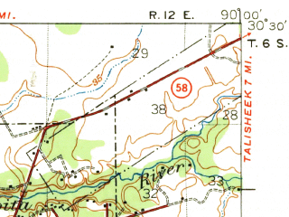 Reduced fragment of topographic map en--usgs--063k--053006--(1939)--N030-30_W090-15--N030-15_W090-00; towns and cities Covington, Mandeville, Abita Springs, Madisonville