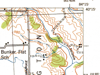 Reduced fragment of topographic map en--usgs--063k--053008--(1944)--N040-15_W084-30--N040-00_W084-15; towns and cities Piqua, Pleasant Hill, Russia, Versailles