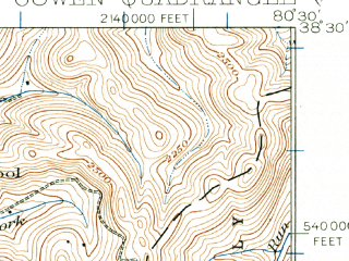 Reduced fragment of topographic map en--usgs--063k--053015--(1915)--N038-30_W080-45--N038-15_W080-30; towns and cities Craigsville, Camden-on-gauley, Cowen