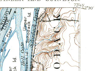 Reduced fragment of topographic map en--usgs--063k--053019--(1893)--N042-30_W074-00--N042-15_W073-45; towns and cities Hudson, Athens, Coxsackie, Lorenz Park