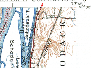 Reduced fragment of topographic map en--usgs--063k--053019--(1929)--N042-30_W074-00--N042-15_W073-45; towns and cities Hudson, Athens, Coxsackie, Lorenz Park
