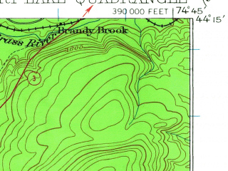 Reduced fragment of topographic map en--usgs--063k--053052--(1919)--N044-15_W075-00--N044-00_W074-45 in area of Cranberry Lake, Lows Lake