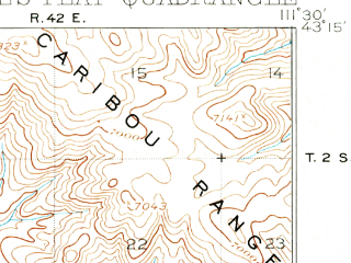 Reduced fragment of topographic map en--usgs--063k--053058--(1917)--N043-15_W111-45--N043-00_W111-30