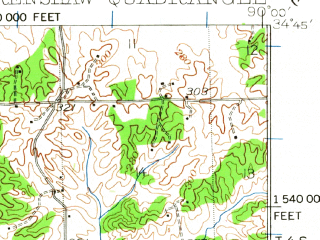 Reduced fragment of topographic map en--usgs--063k--053069--(1932)--N034-45_W090-15--N034-30_W090-00; towns and cities Crenshaw