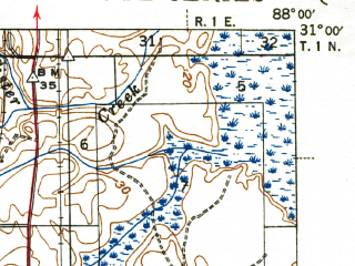 Reduced fragment of topographic map en--usgs--063k--053070--(1943)--N031-00_W088-15--N030-45_W088-00; towns and cities Prichard, Chickasaw, Saraland, Creola, Satsuma