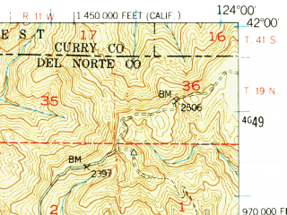 Reduced fragment of topographic map en--usgs--063k--053074--(1952)--N042-00_W124-15--N041-45_W124-00 in area of Lake Earl; towns and cities Crescent City, Crescent City North
