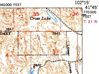 Reduced fragment of topographic map en--usgs--063k--053076--(1950)--N041-45_W102-30--N041-30_W102-15 in area of Crescent Lake