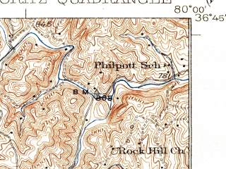 Reduced fragment of topographic map en--usgs--063k--053089--(1928)--N036-45_W080-15--N036-30_W080-00