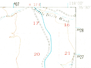 Reduced fragment of topographic map en--usgs--063k--053104--(1943)--N035-30_W118-15--N035-15_W118-00