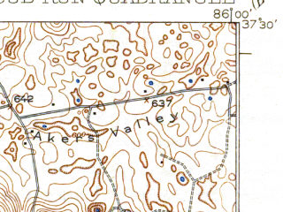 Reduced fragment of topographic map en--usgs--063k--053126--(1925)--N037-30_W086-15--N037-15_W086-00; towns and cities Clarkson