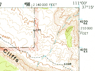 Reduced fragment of topographic map en--usgs--063k--053144--(1953)--N037-15_W111-15--N037-00_W111-00
