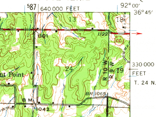 Reduced fragment of topographic map en--usgs--063k--053149--(1944)--N036-45_W092-15--N036-30_W092-00; towns and cities Bakersfield