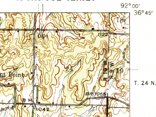 Reduced fragment of topographic map en--usgs--063k--053149--(1946)--N036-45_W092-15--N036-30_W092-00; towns and cities Bakersfield