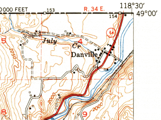 Reduced fragment of topographic map en--usgs--063k--053150--(1951)--N049-00_W118-45--N048-45_W118-30