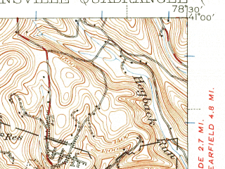 Reduced fragment of topographic map en--usgs--063k--053157--(1939)--N041-00_W078-45--N040-45_W078-30 in area of Curwensville Reservoir; towns and cities Curwensville, Grampian, Irvona