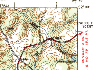 Reduced fragment of topographic map en--usgs--063k--053158--(1945)--N032-00_W095-00--N031-45_W094-45 in area of Lake Striker; towns and cities Cushing, Reklaw