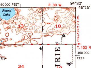 Reduced fragment of topographic map en--usgs--063k--053159--(1950)--N046-15_W094-45--N046-00_W094-30 in area of Lake Alexander, Fish Trap Lake; towns and cities Randall