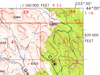Reduced fragment of topographic map en--usgs--063k--053162--(1956)--N044-00_W103-45--N043-45_W103-30; towns and cities Custer, Hill City