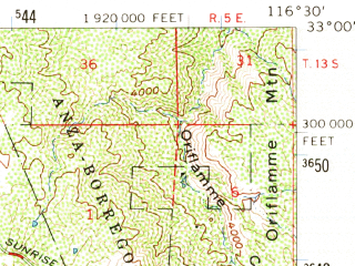 Reduced fragment of topographic map en--usgs--063k--053167--(1960)--N033-00_W116-45--N032-45_W116-30; towns and cities Pine Valley