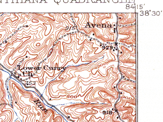 Reduced fragment of topographic map en--usgs--063k--053169--(1934)--N038-30_W084-30--N038-15_W084-15; towns and cities Cynthiana