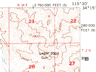 Reduced fragment of topographic map en--usgs--063k--053182--(1956)--N034-15_W115-45--N034-00_W115-30 in area of Dale Lake
