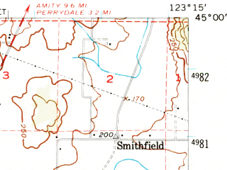 Reduced fragment of topographic map en--usgs--063k--053185--(1957)--N045-00_W123-30--N044-45_W123-15; towns and cities Dallas, Falls City