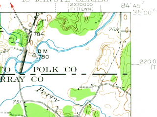 Reduced fragment of topographic map en--usgs--063k--053187--(1938)--N035-00_W085-00--N034-45_W084-45; towns and cities Dalton, Chatsworth, Cohutta, Eton