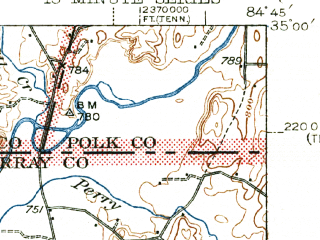 Reduced fragment of topographic map en--usgs--063k--053187--(1943)--N035-00_W085-00--N034-45_W084-45; towns and cities Dalton, Eton, Varnell, Chatsworth