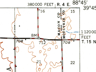 Reduced fragment of topographic map en--usgs--063k--053188--(1949)--N039-45_W089-00--N039-30_W088-45; towns and cities Dalton City, Findlay, Macon