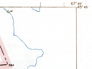 Reduced fragment of topographic map en--usgs--063k--053197--(1941)--N045-45_W068-00--N045-30_W067-45 in area of Hot Brooks Lakes, Crooked Brook Flowage