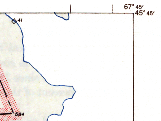 Reduced fragment of topographic map en--usgs--063k--053197--(1943)--N045-45_W068-00--N045-30_W067-45 in area of Hot Brooks Lakes, Crooked Brook Flowage