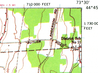 Reduced fragment of topographic map en--usgs--063k--053199--(1956)--N044-45_W073-45--N044-30_W073-30; towns and cities Dannemora, Morrisonville, Peru