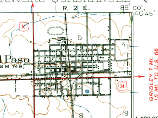 Reduced fragment of topographic map en--usgs--063k--053201--(1927)--N040-45_W089-15--N040-30_W089-00; towns and cities Carlock, Congerville, Danvers