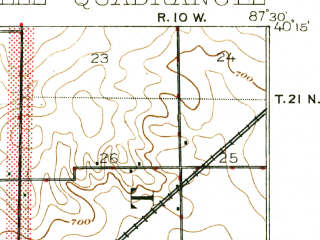 Reduced fragment of topographic map en--usgs--063k--053202--(1900)--N040-15_W087-45--N040-00_W087-30 in area of Lake Vermillion; towns and cities Danville, State Line City, Tilton, Westville