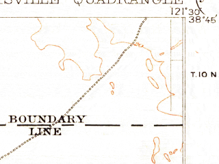 Reduced fragment of topographic map en--usgs--063k--053219--(1907)--N038-45_W121-45--N038-30_W121-30; towns and cities Davis, West Sacramento