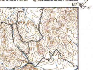 Reduced fragment of topographic map en--usgs--063k--053228--(1911)--N037-15_W087-45--N037-00_W087-30 in area of Lake Beshear; towns and cities Dawson Springs, St. Charles
