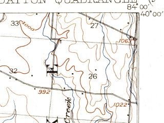Reduced fragment of topographic map en--usgs--063k--053234--(1906)--N040-00_W084-15--N039-45_W084-00; towns and cities Dayton, Fairborn, Huber Heights, Shiloh, Vandalia