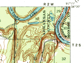 Reduced fragment of topographic map en--usgs--063k--053268--(1941)--N034-30_W091-30--N034-15_W091-15; towns and cities Almyra, De Witt