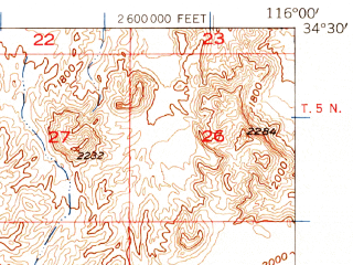 Reduced fragment of topographic map en--usgs--063k--053274--(1955)--N034-30_W116-15--N034-15_W116-00 in area of Coyote Lake (dry)