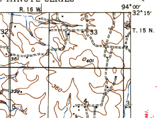 Reduced fragment of topographic map en--usgs--063k--053276--(1945)--N032-15_W094-15--N032-00_W094-00 in area of Toledo Bend Reservoir