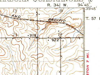 Reduced fragment of topographic map en--usgs--063k--053278--(1927)--N039-45_W095-00--N039-30_W094-45; towns and cities De Kalb, Dearborn