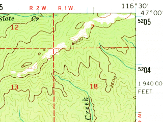 Reduced fragment of topographic map en--usgs--063k--053279--(1961)--N047-00_W116-45--N046-45_W116-30; towns and cities Deary