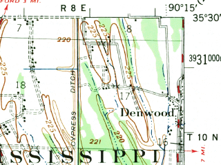 Reduced fragment of topographic map en--usgs--063k--053286--(1957)--N035-30_W090-30--N035-15_W090-15; towns and cities Birdsong, Gilmore, Turrell