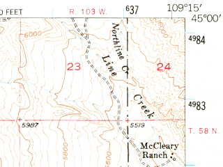 Reduced fragment of topographic map en--usgs--063k--053293--(1950)--N045-00_W109-30--N044-45_W109-15